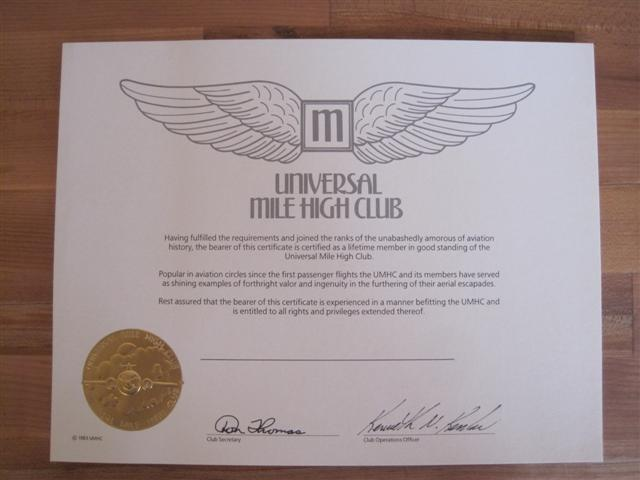 mile high club certificate