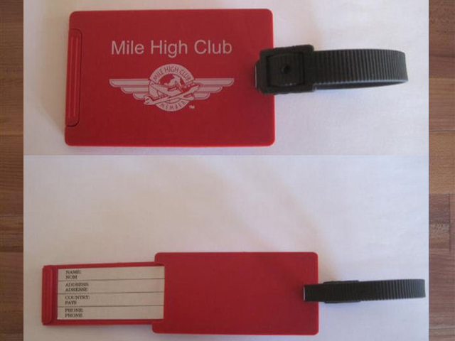 mile high club luggage tag